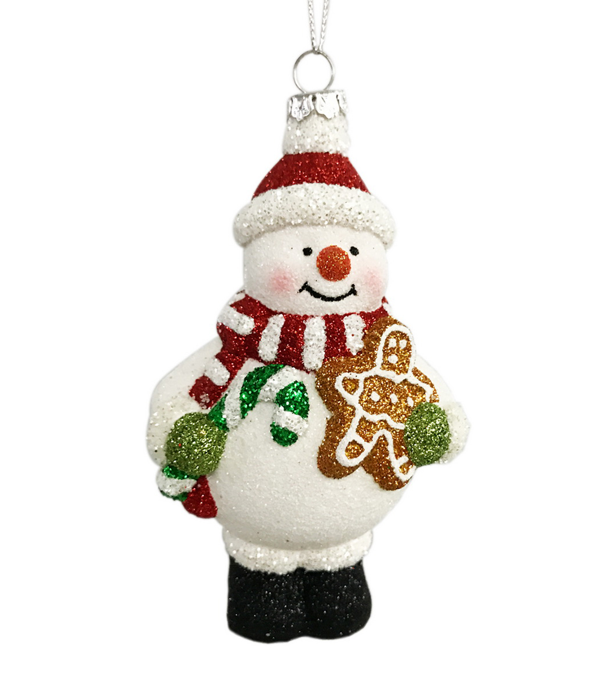 Maker\u0027s Holiday Christmas Glitter Snowman with Scarf Ornament