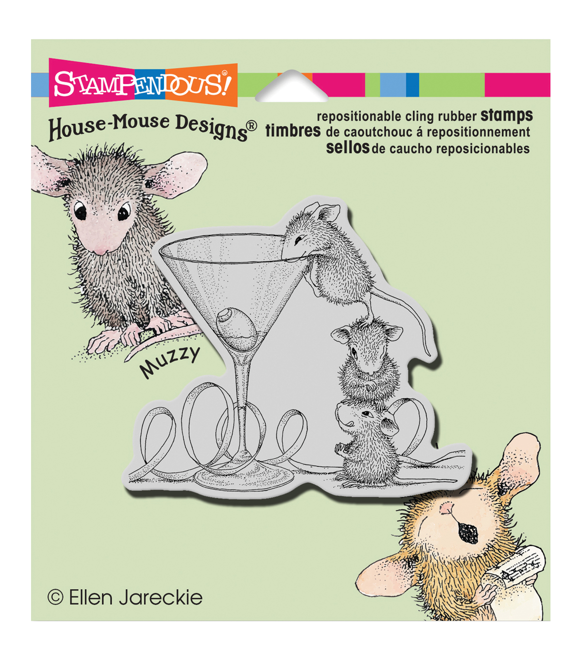 Stampendous House Mouse Martini Mice Cling Rubber Stamp