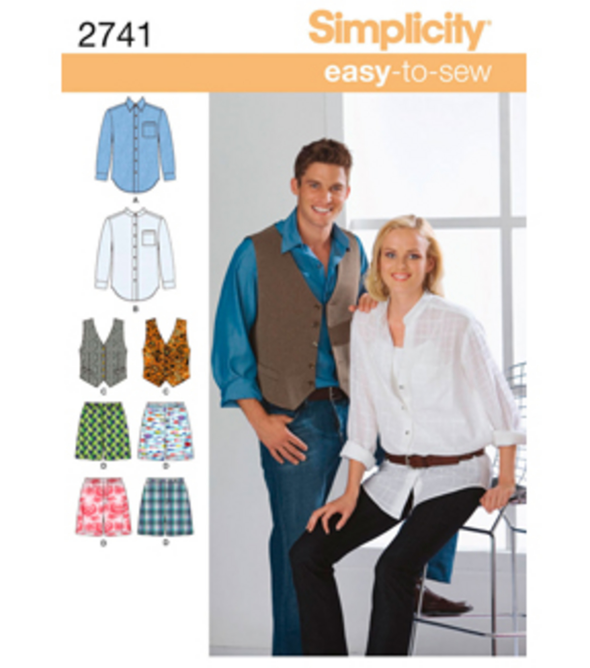 Simplicity Pattern 2741AA Adult Shirts & Vests-Size XS-S-M