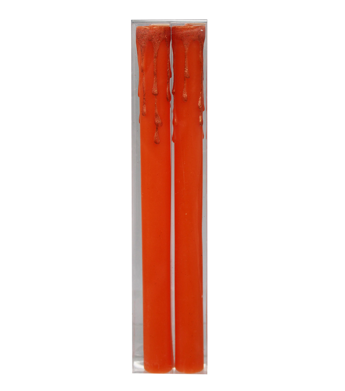 Maker\u0027s Halloween 2 Pack Glitter Taper Candles-Orange