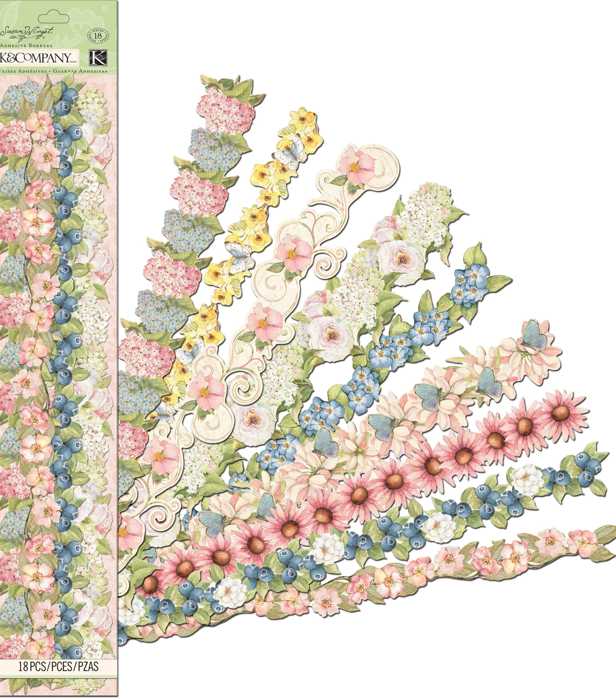 K&Company Susan Winget 18 pk Floral Adhesive Borders Stickers