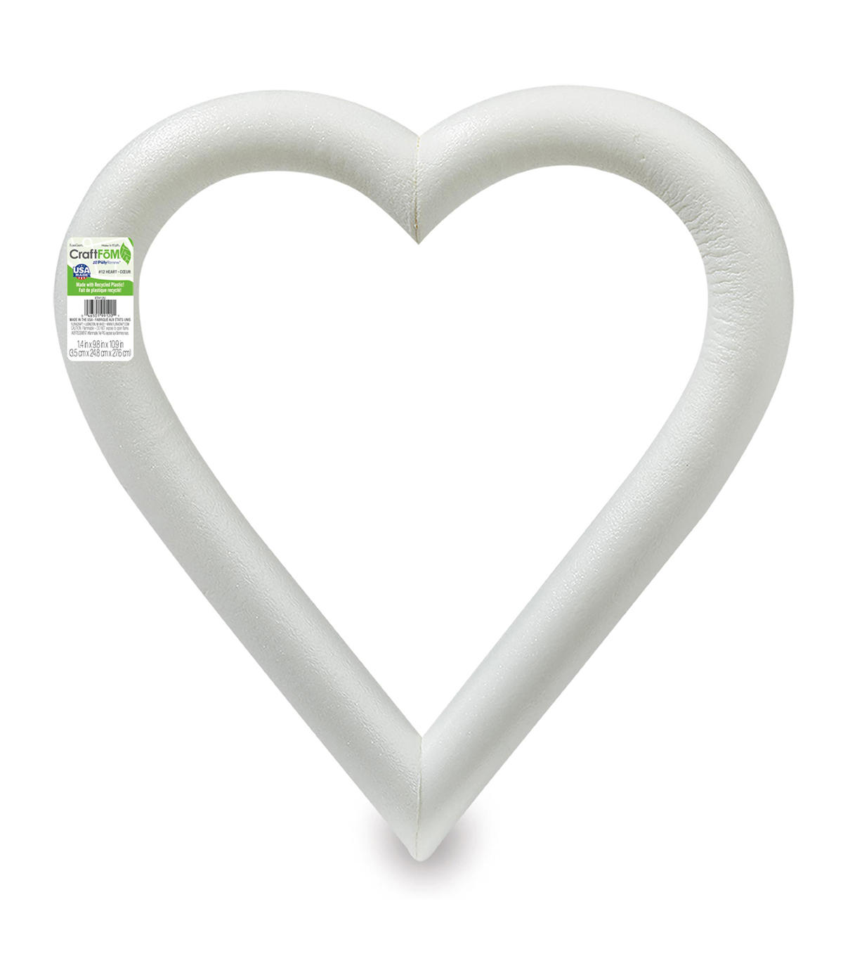 12in Extruded Foam Heart White