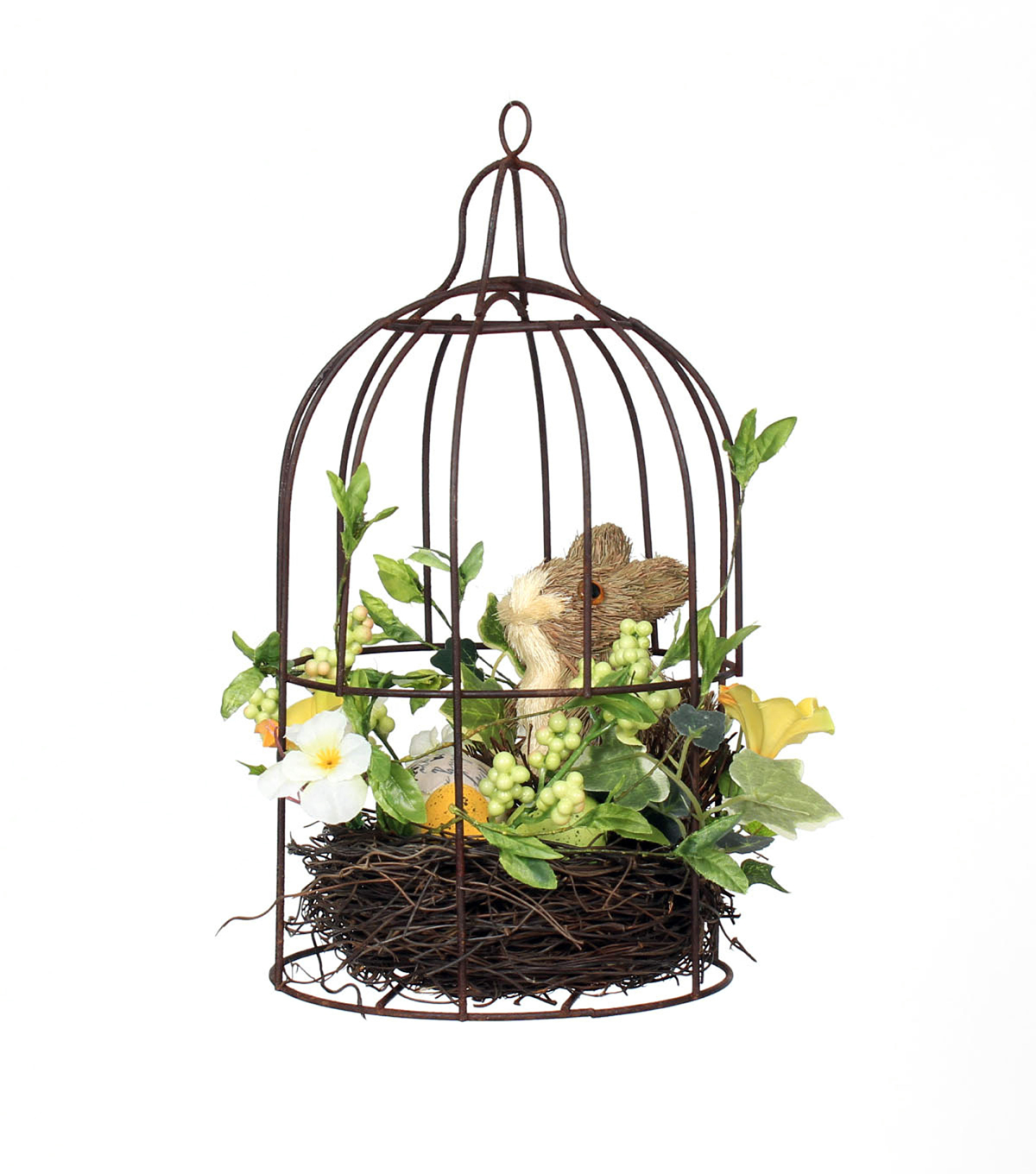Easter Sisal & Bunny in Bird Cage Table Decor