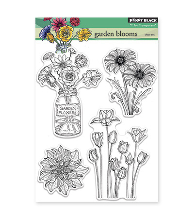 "Penny Black Clear Stamps 5""X6.5"" Sheet -Garden Blooms"