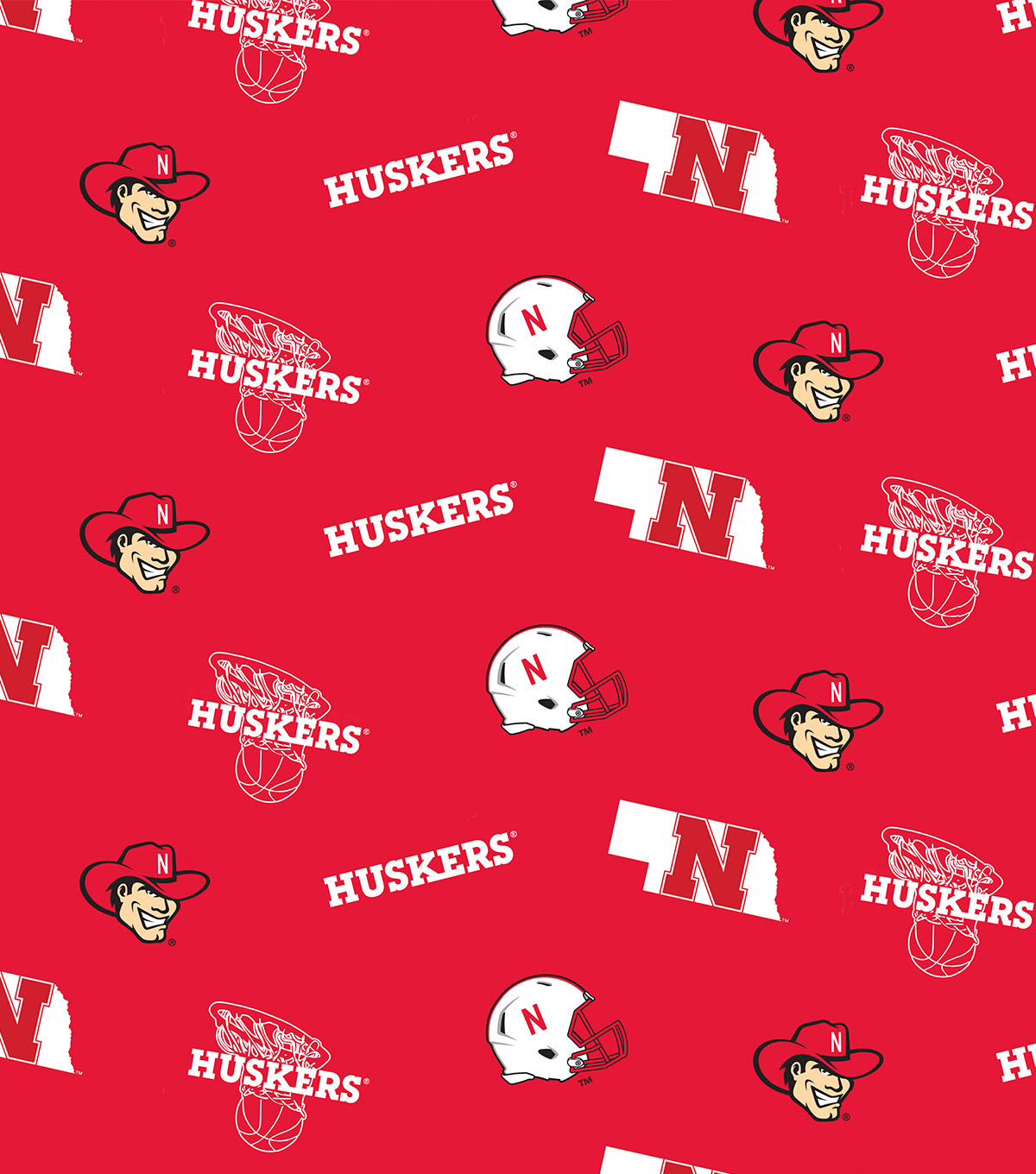 University of Nebraska Cornhuskers Cotton Fabric 43\u0022-Red