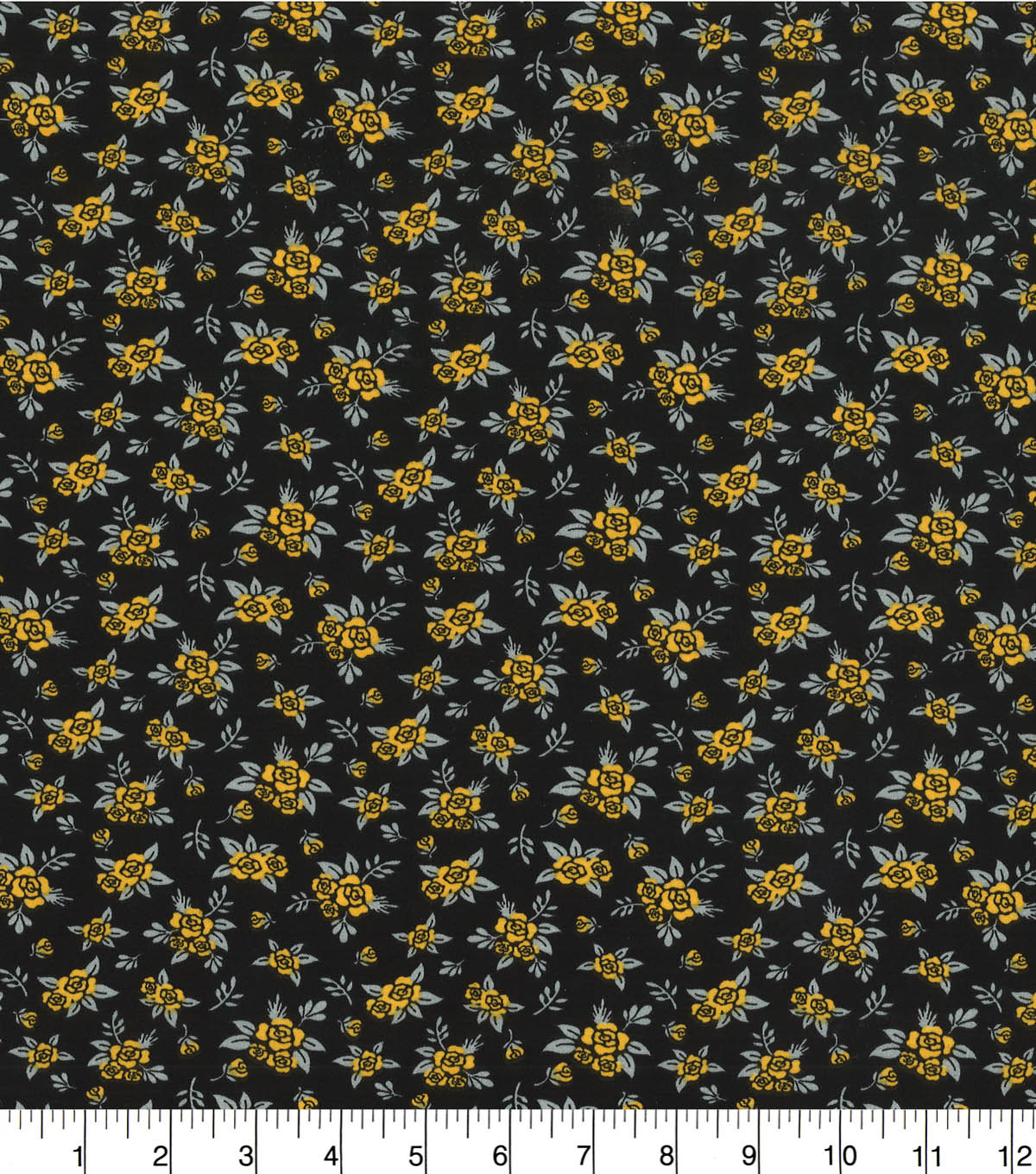 Quilter\u0027s Showcase™ Fabric 44\u0027\u0027-Amber Yellow Ditsy Floral on Black