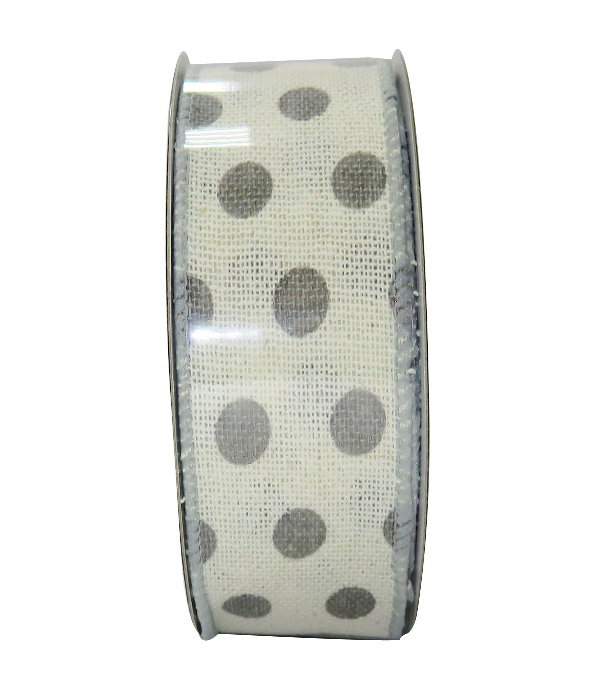 Decorative Ribbon 1.5'' X 15'-Gray Dot on Cream