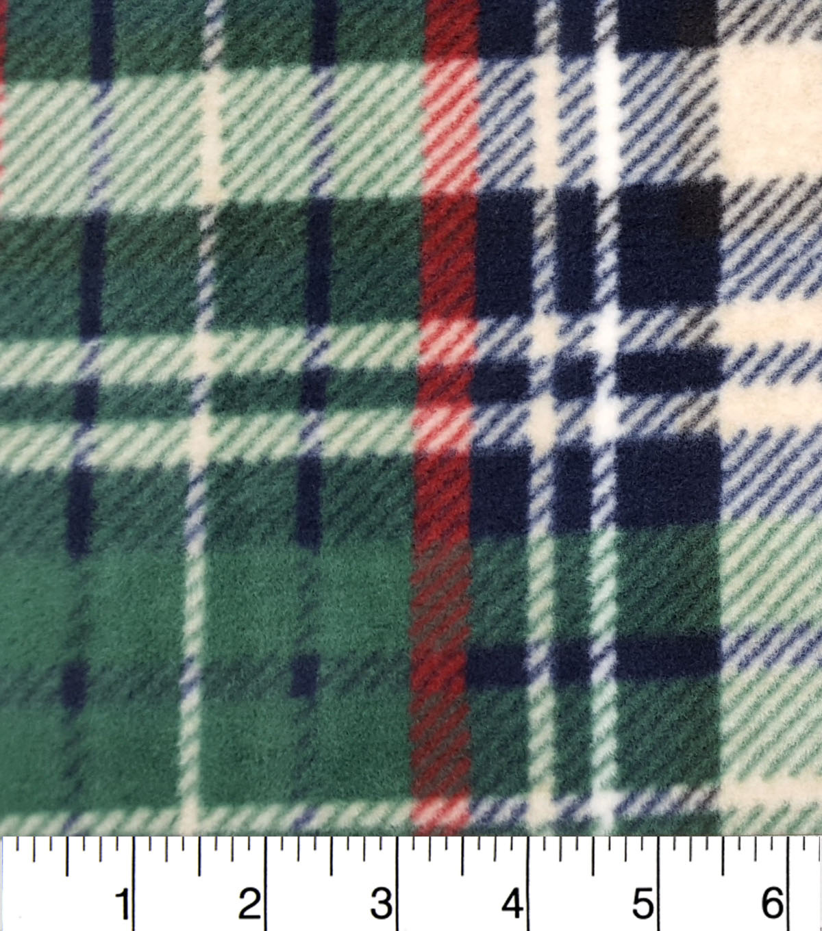 "Luxe Fleece Fabric 59""-Green Navy Oatmeal Heather Plaid"