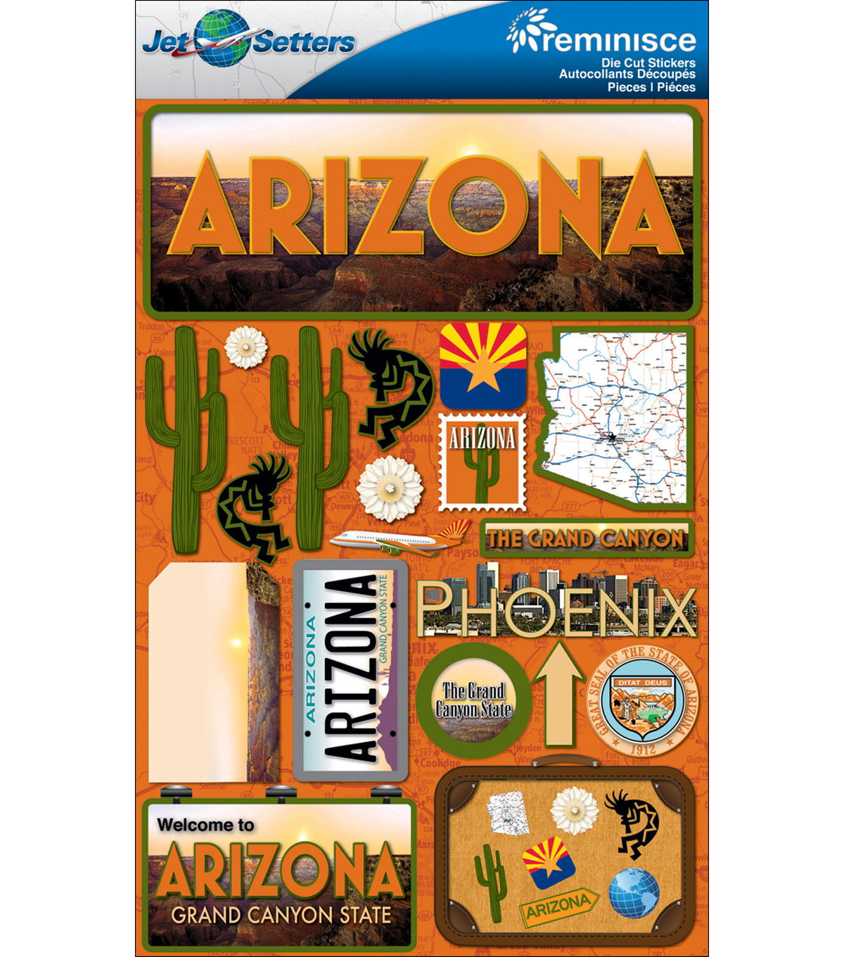 Jet Setters Dimensional Stickers-Arizona