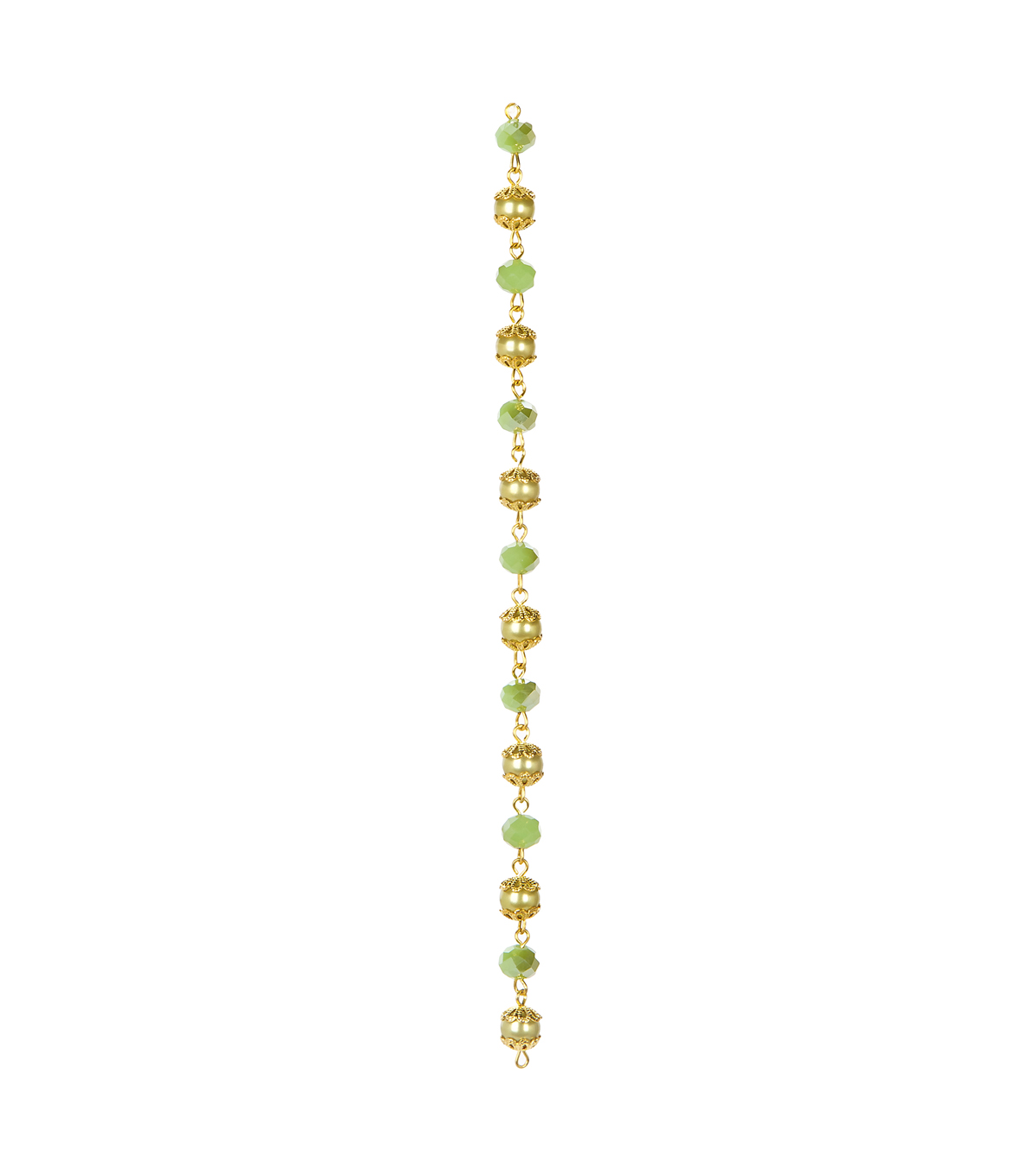 "7"" Strand Gold Linked 8mm Light Green Pearl and Faceted Beads"