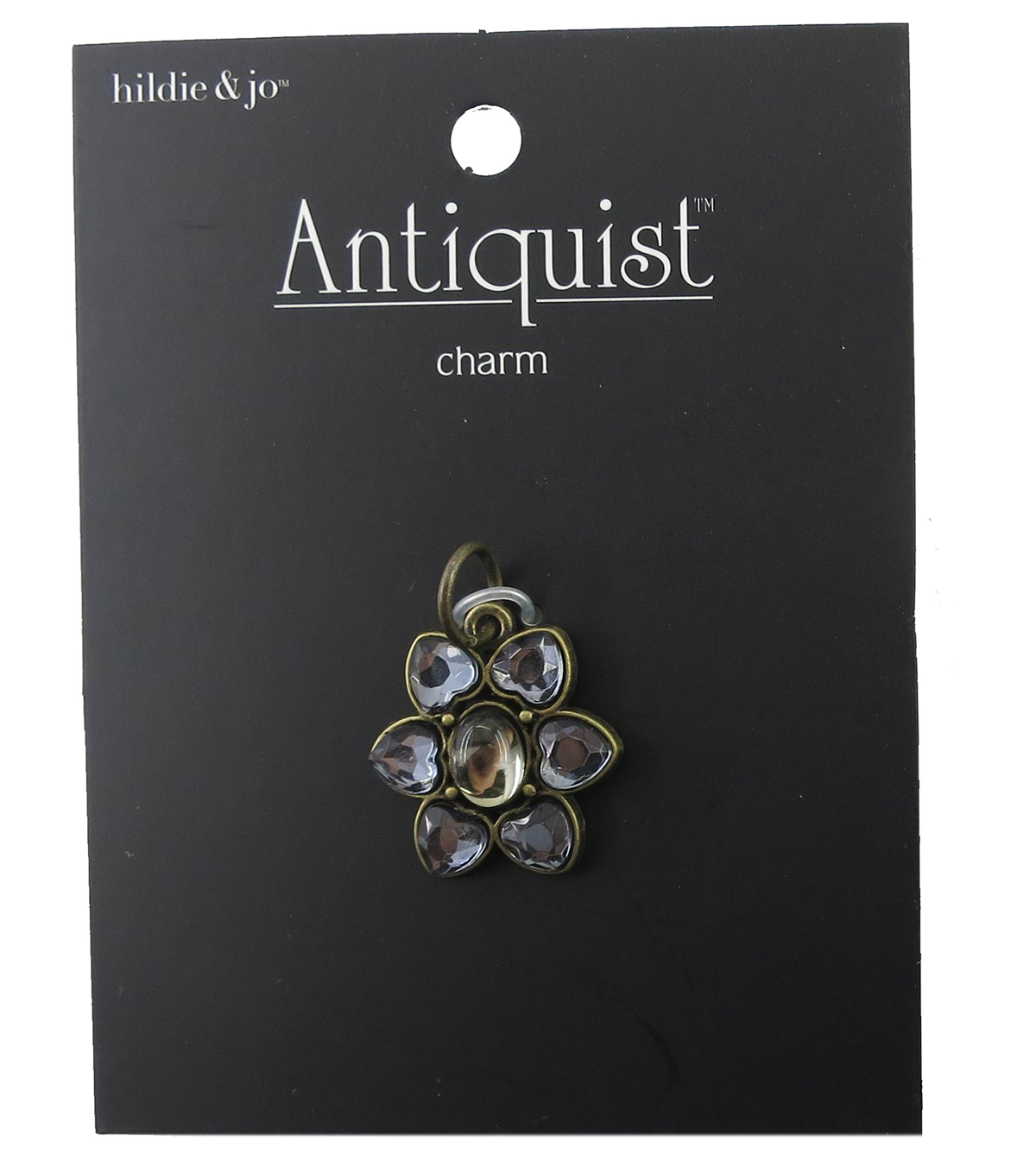 hildie & jo™ Antiquist Flower Antique Gold Charm-Crystals