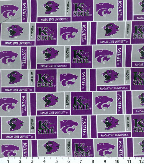 Kansas State University Wildcats Cotton Fabric 43\u0022-Herringbone