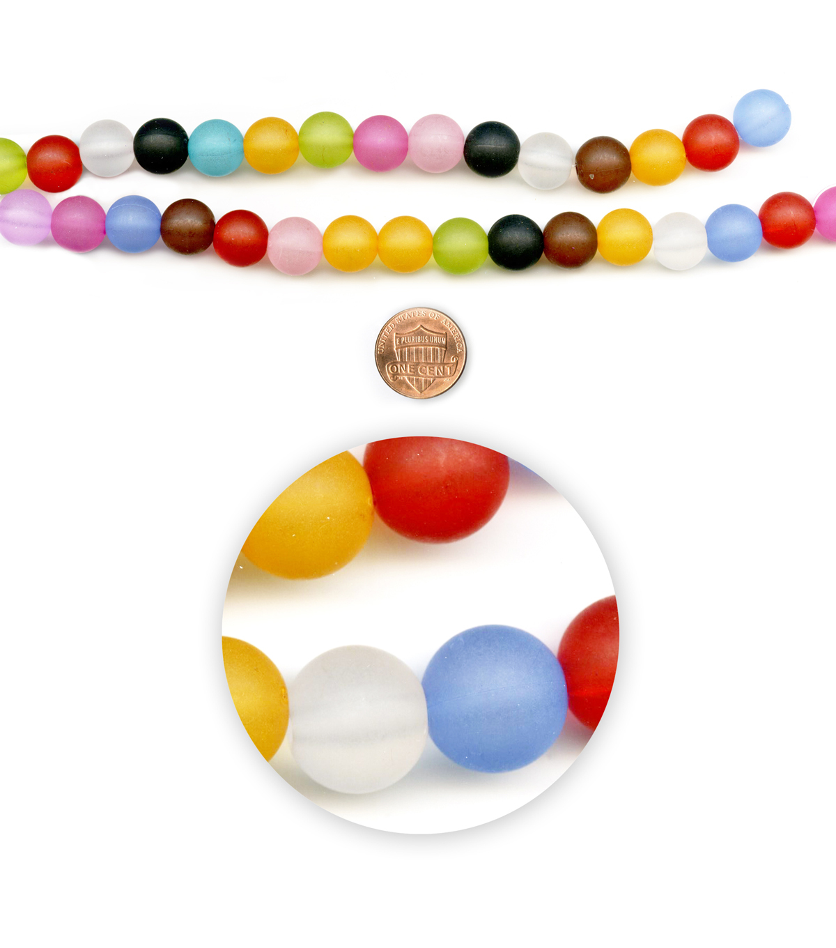 Blue Moon Beads 14\u0022 Strand, Acrylic Frosted Rounds, Multi-Color