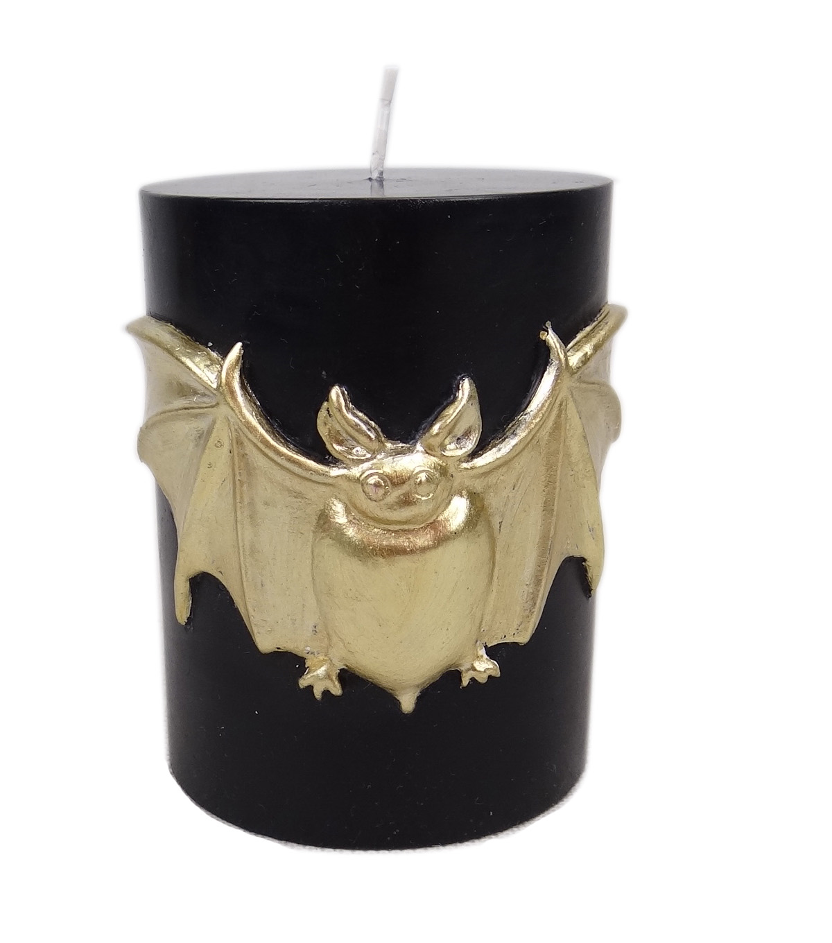Maker's Halloween 3''x4'' Pillar Candle-Gold Bat Icon