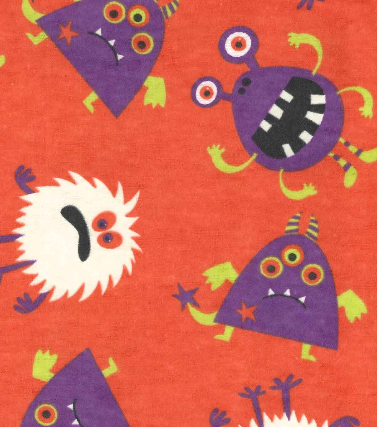 Fashion Flannel Glow in the Dark Fabric Monster Toss