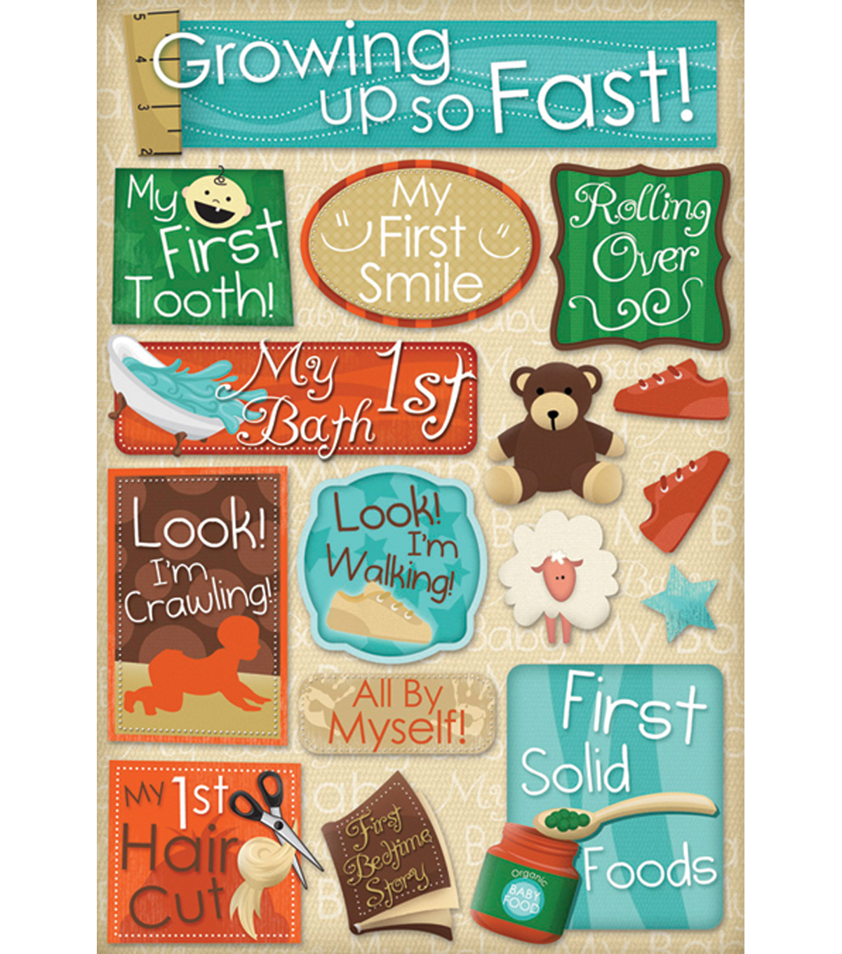 Karen Foster Baby\u0027s First Cardstock Stickers-Growing Up