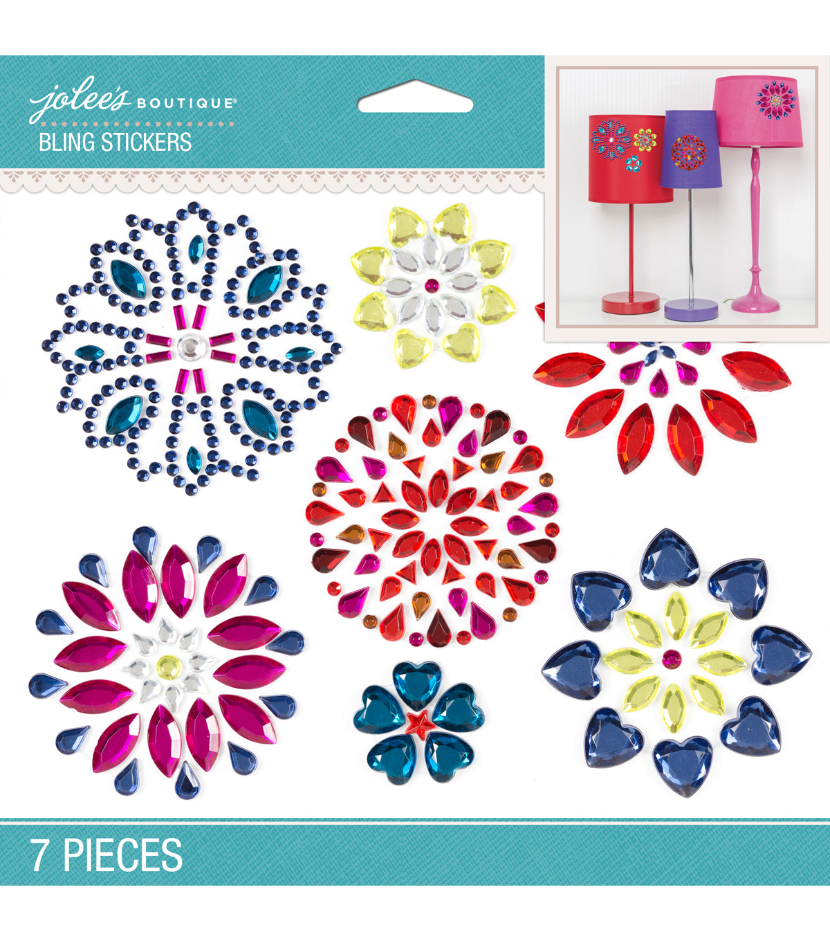 Jolee's Boutique® 7 Pack 6.5''x5'' Bright Flowers Bling Stickers