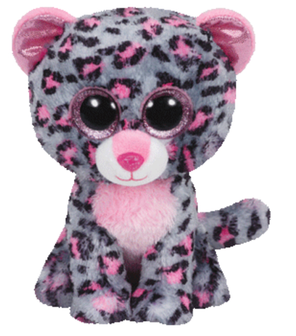 TY Beanie Boo Tasha Pink and Grey Leopard