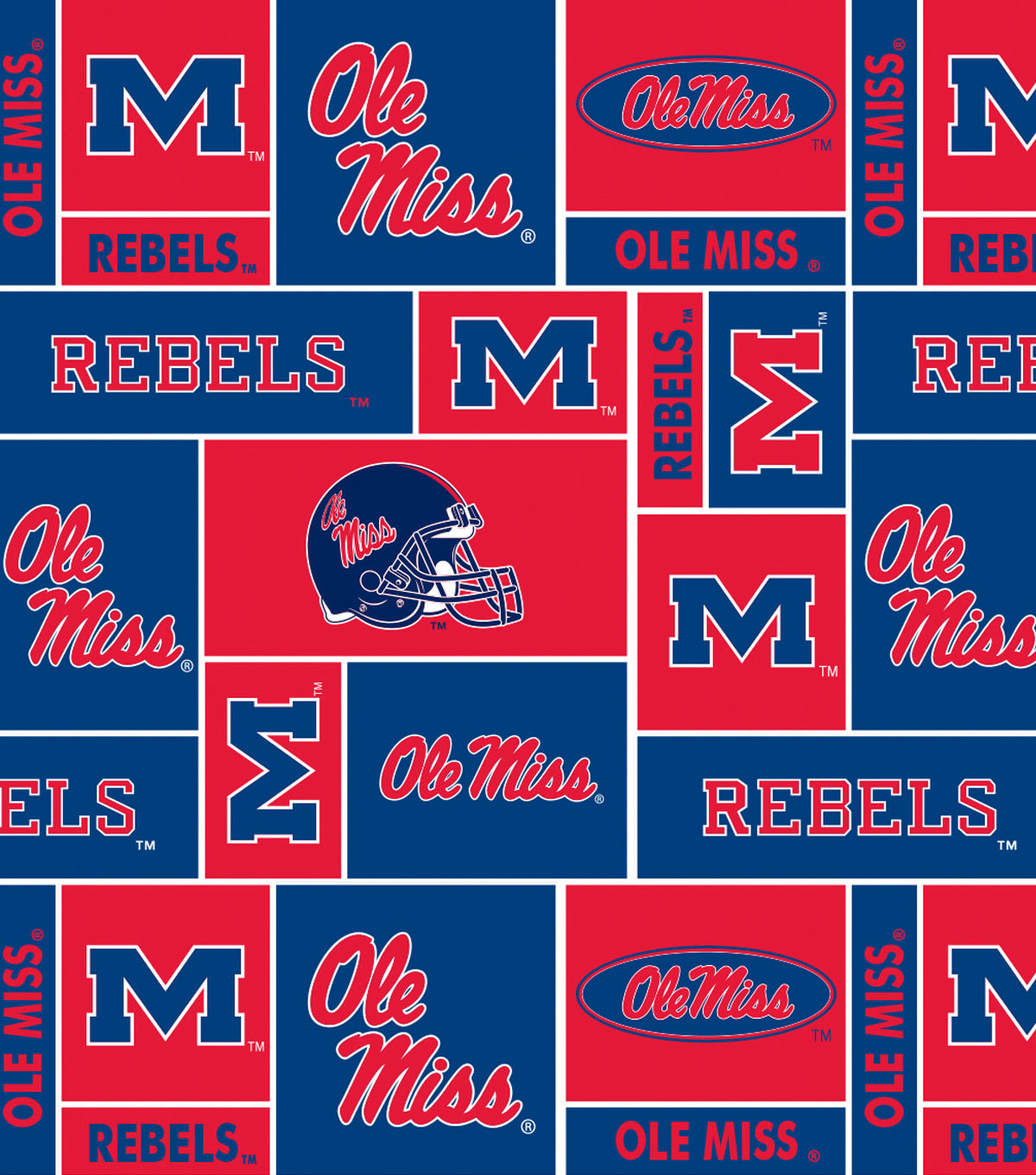 University of Mississippi Ole Miss Rebels Fleece Fabric 58\u0022-Allover Block