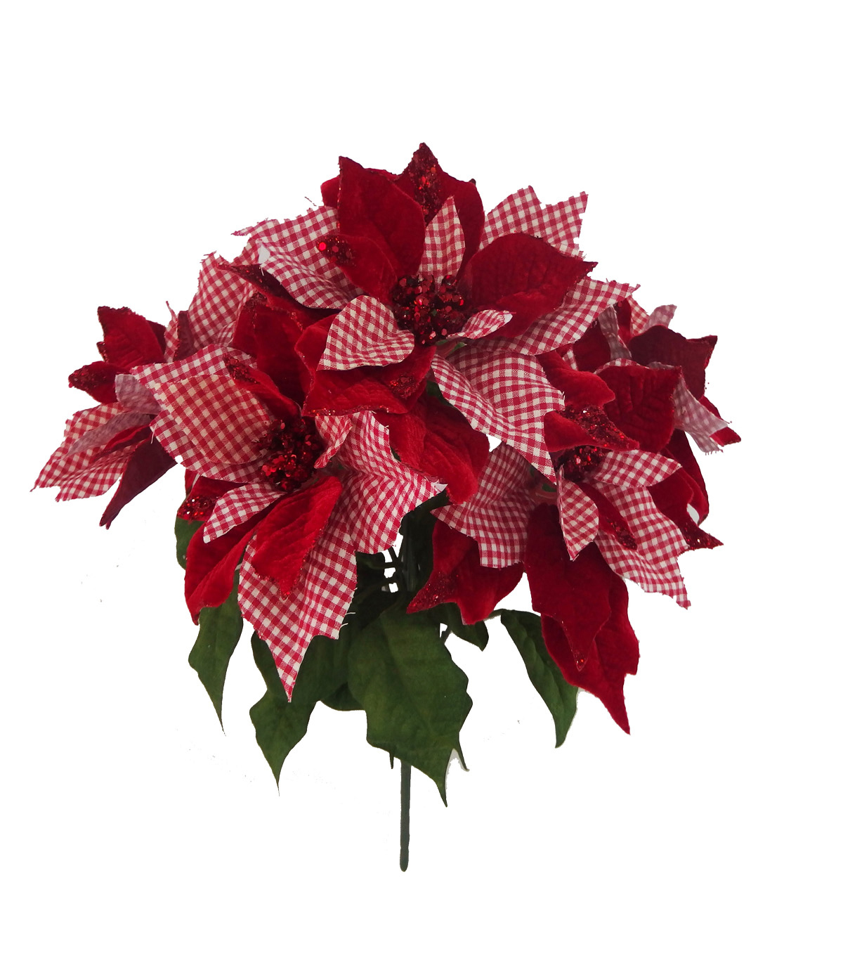 Blooming Holiday Gingham Poinsettia Bush-Red & White