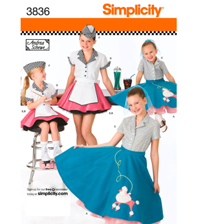 Simplicity Pattern 3836-Child & Girl 50's Girl Costumes