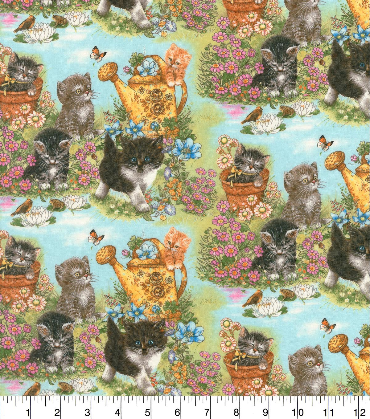 Novelty Cotton Fabric 44\u0027\u0027-Kittens in Garden