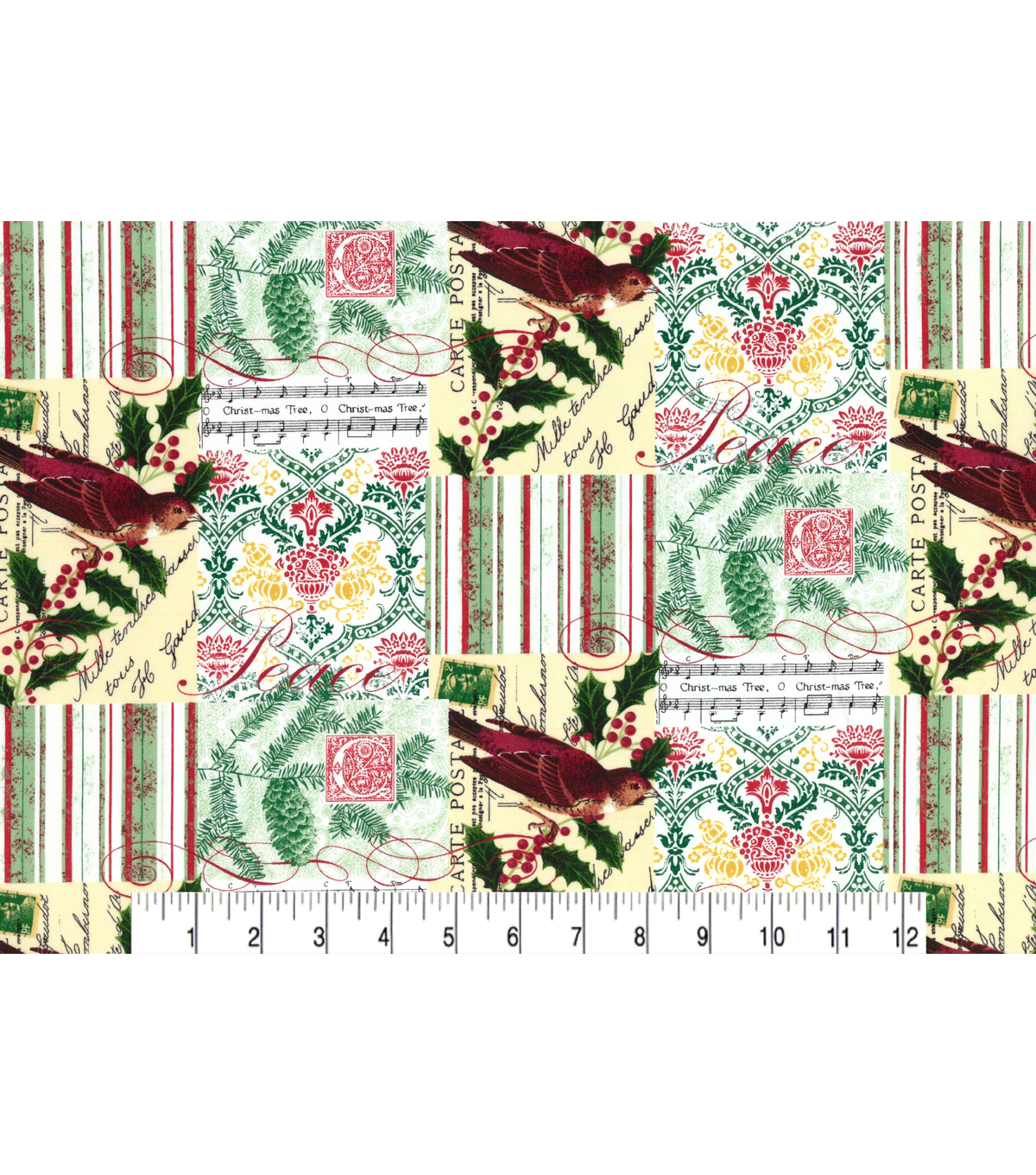Christmas Cotton Fabric 43\u0022-Christmas Cardinal Patch