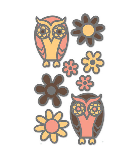 EK Success Glitter Dimensional Stickers-Owls & Flowers