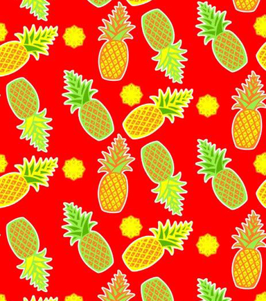 Tutti Fruitti Fabric- Tropics Pineapple Red