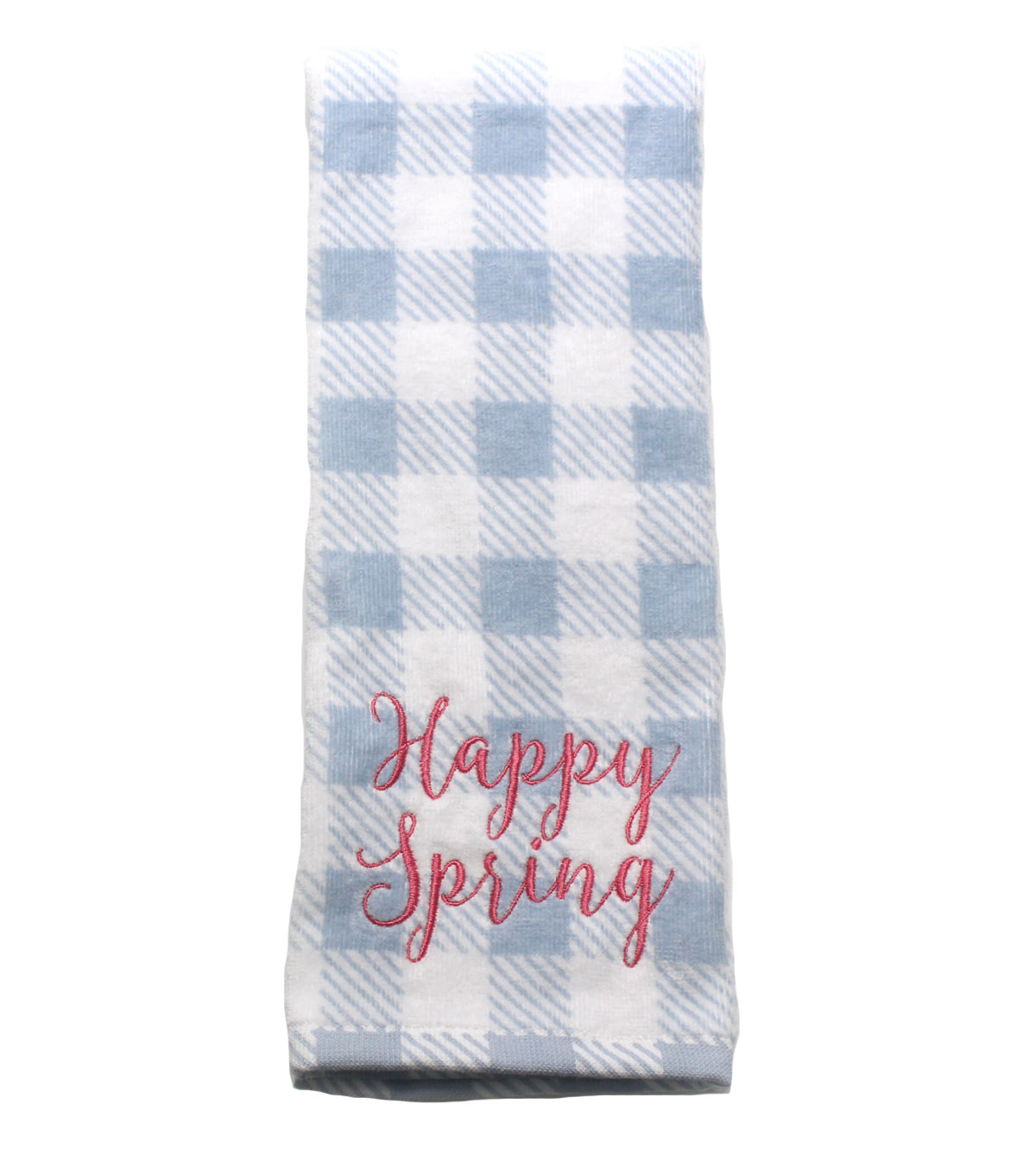 Wild Blooms Velour Terry Towel-Happy Spring on Blue Gingham