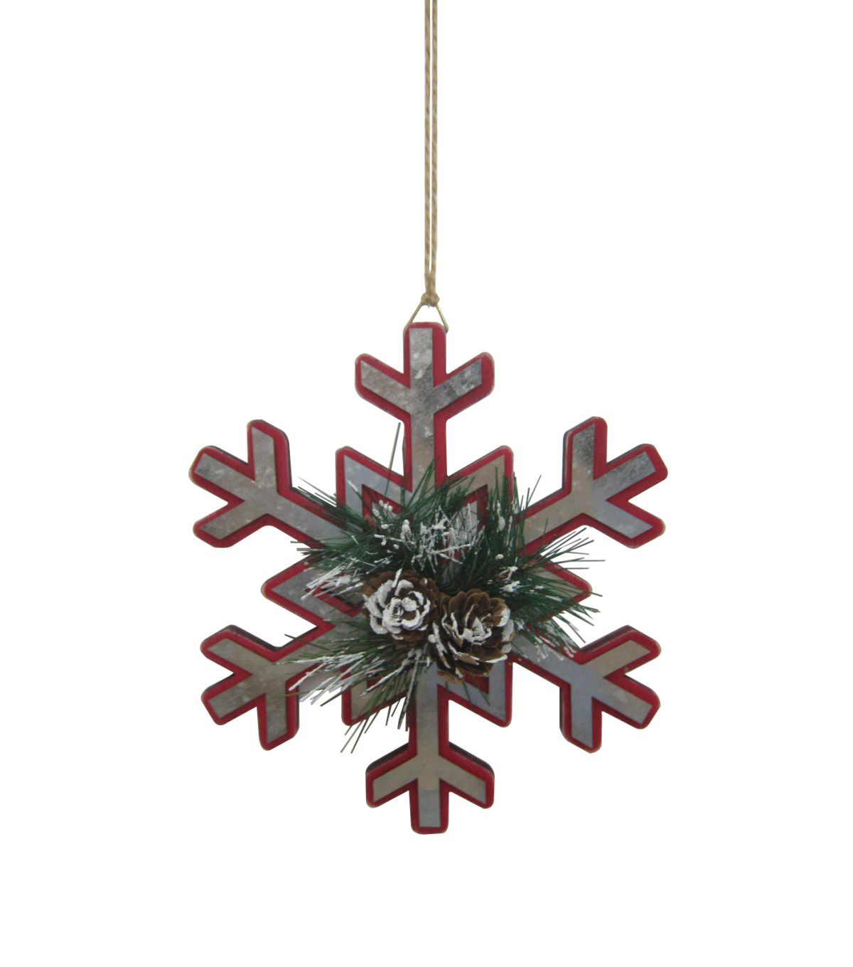 Maker\u0027s Holiday Christmas Handmade Holiday Metal Snowflake Ornament-Red