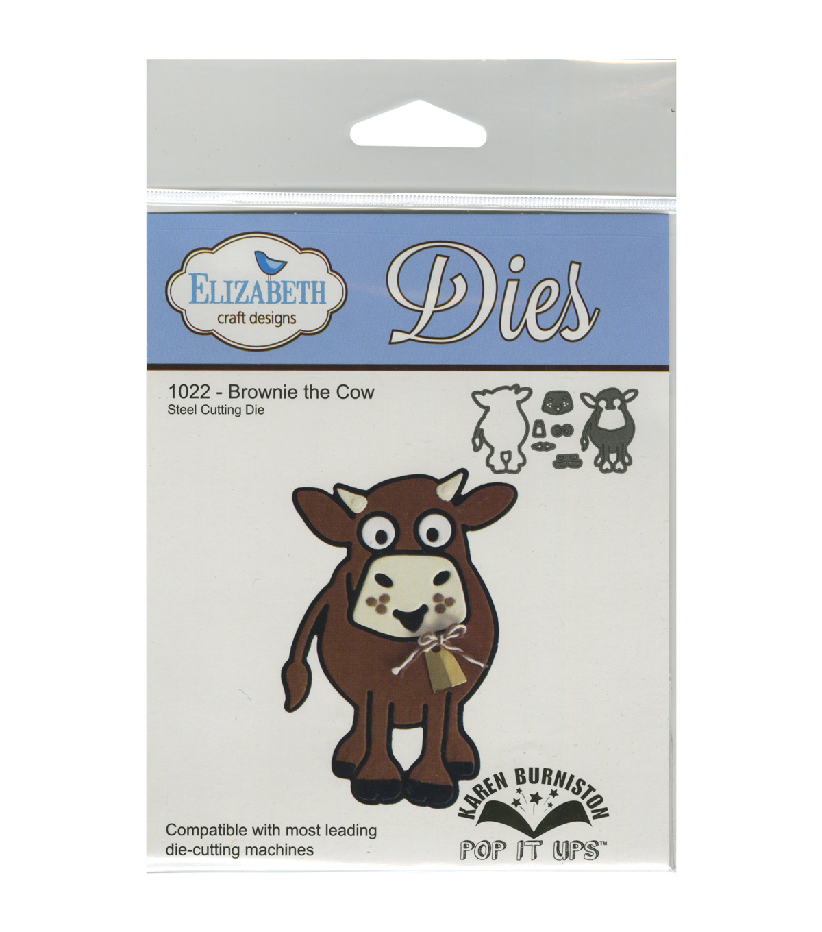 Elizabeth Craft Designs Pop It Up Metal Dies-Brownie The Cow