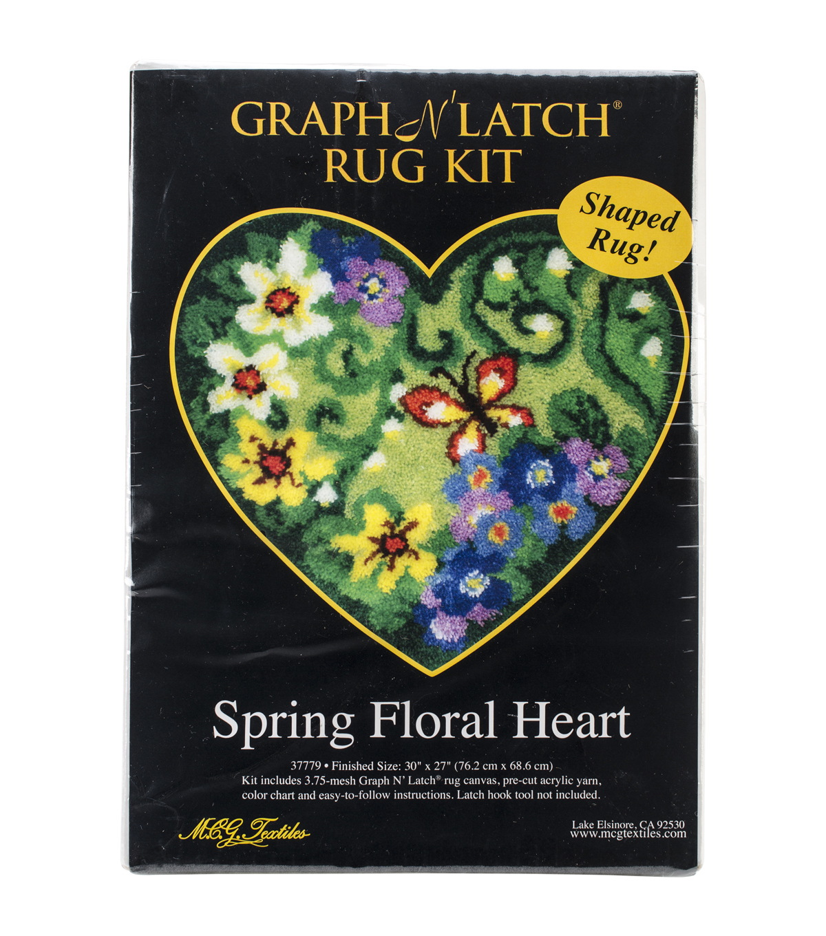 "Latch Hook Kit 30""X27"" Shaped-Spring Floral Heart"
