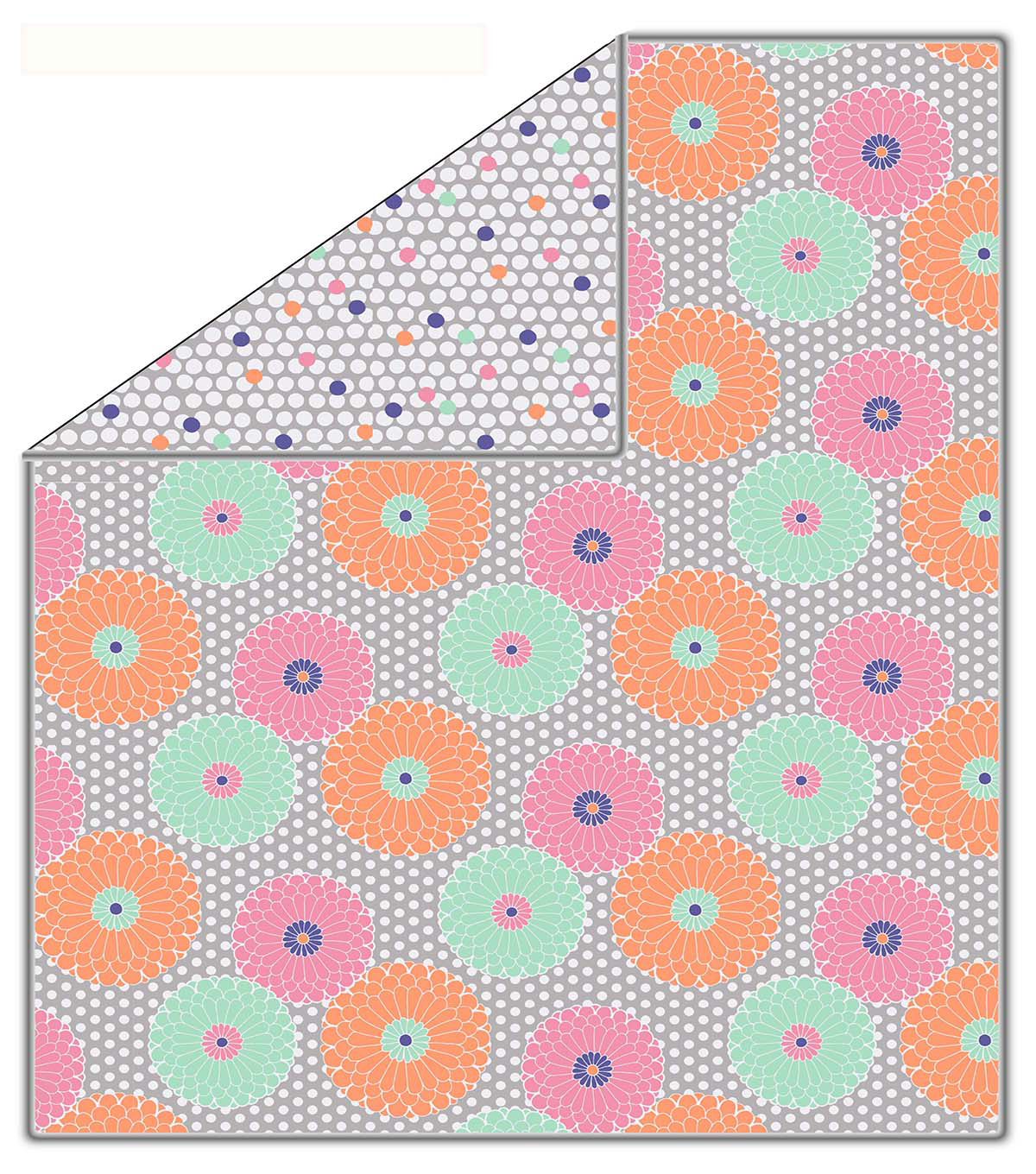 No-Sew Throw Fleece Fabric 72\u0022-Flowers On Dots