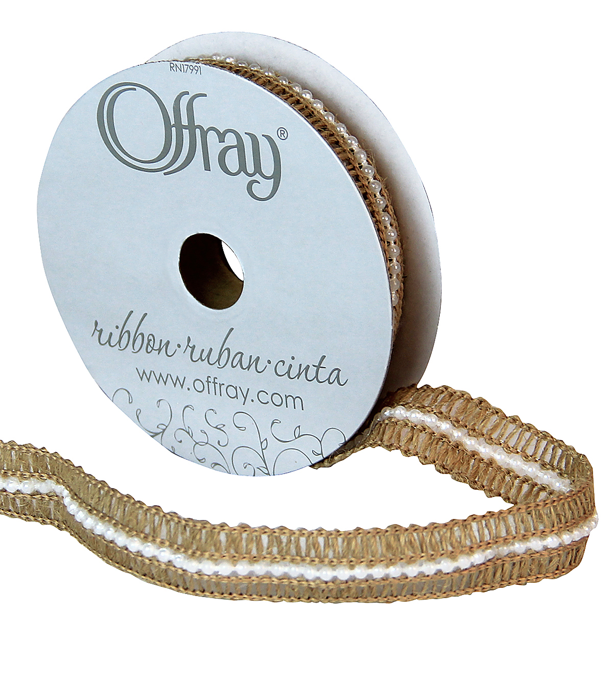 "Offray 5/8""x9' Pearl Center Natural Burlap Ribbon-Natural"