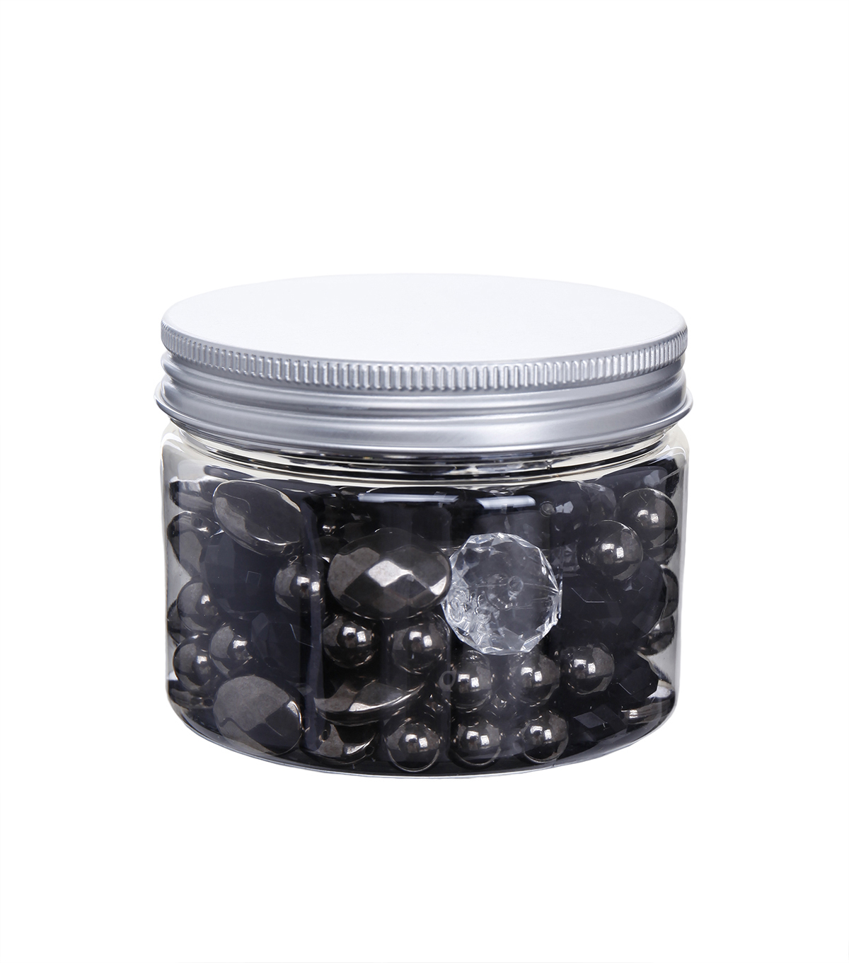 hildie & jo™ Assorted Fashion Beads in Plastic Jar-Black & Clear