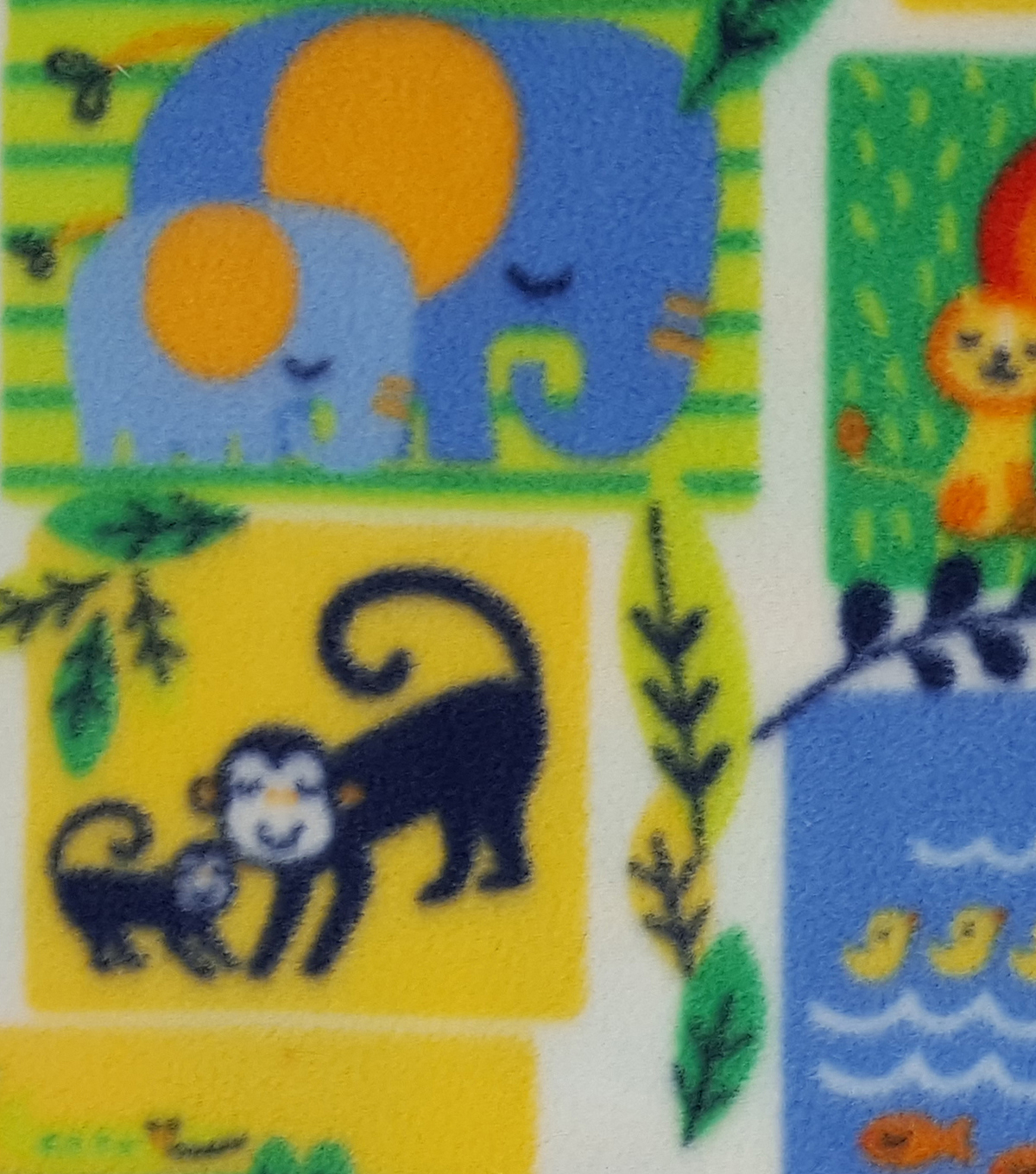 Nursery Fleece Fabric 59\u0022-Bright Jungle Patch