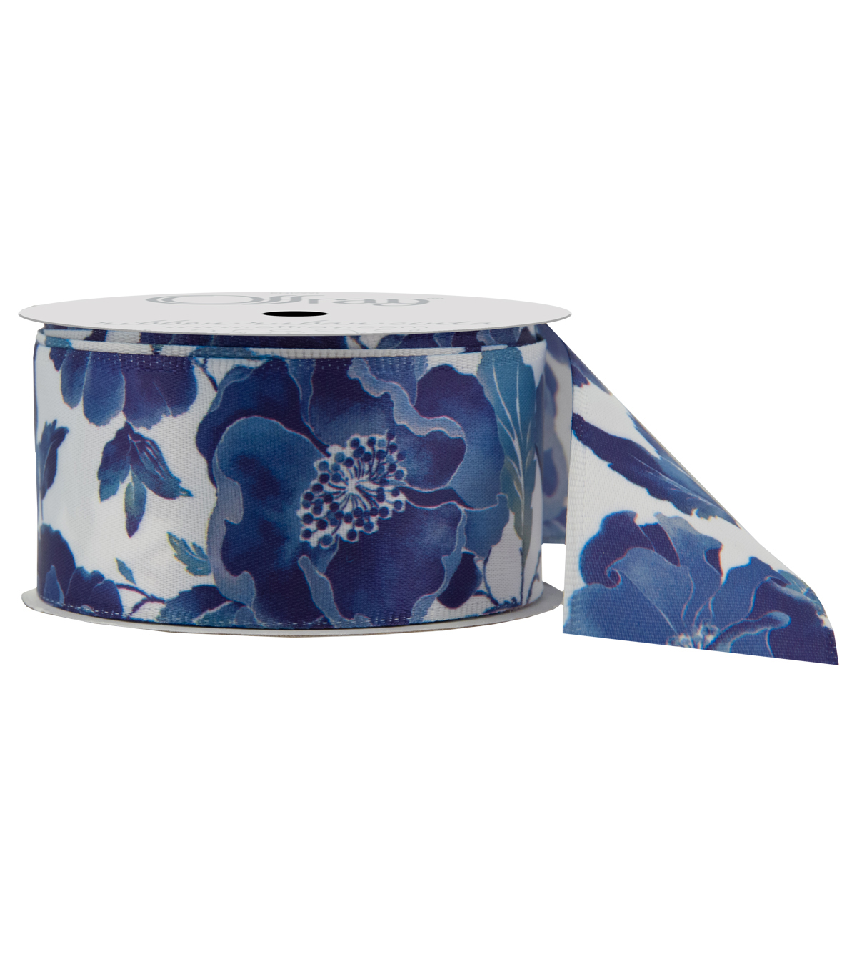 Offray 1.5\u0022x9\u0027 Camo Abstract Single Faced Satin Wired Edge Ribbon-Blue