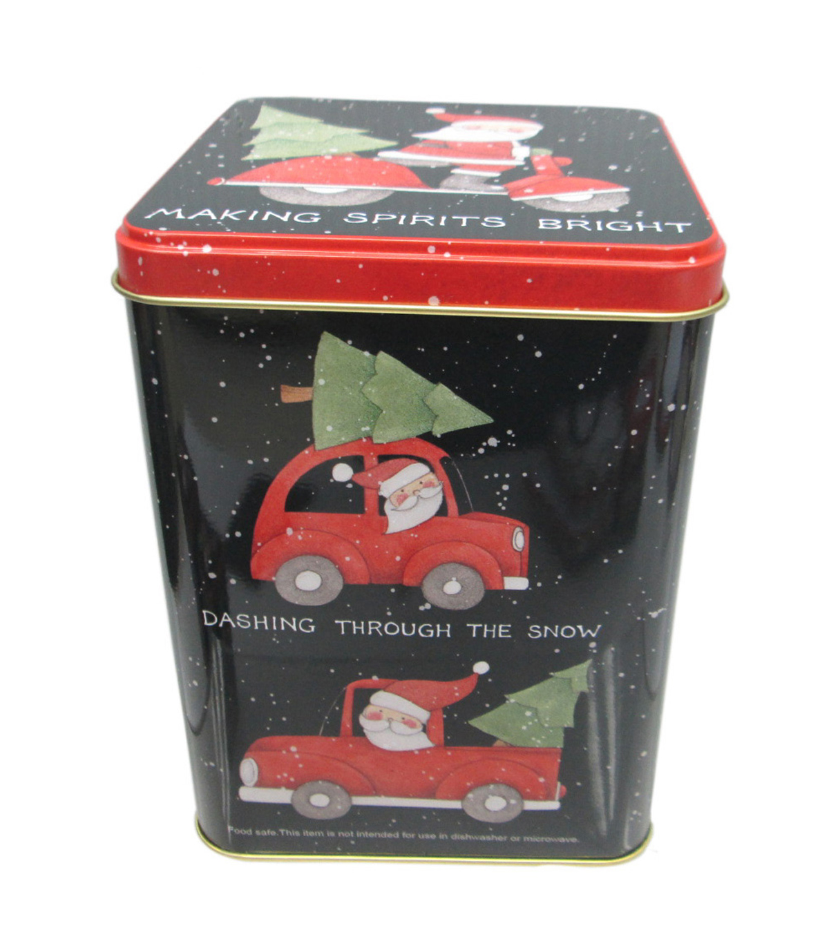 Maker's Holiday Large Square Canister-Santa Truck