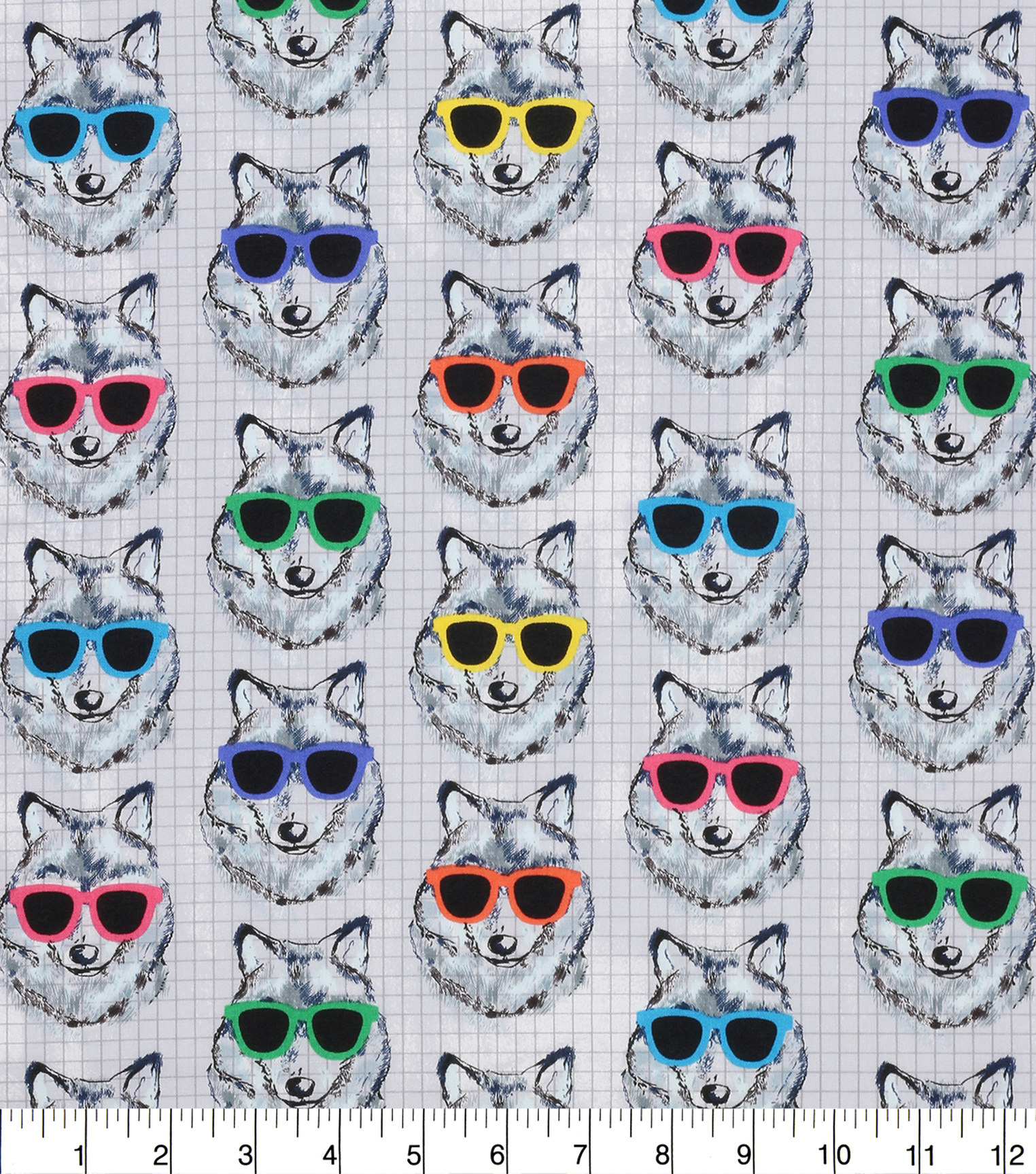 Novelty Cotton Fabric 43''-Cool Wolves with Shades