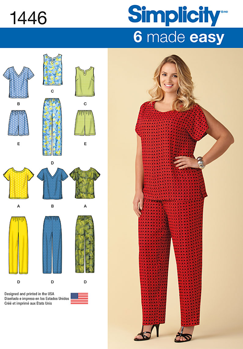 Simplicity Pattern 1446GG 26W-28W-30-Plus Sizes Sportswea