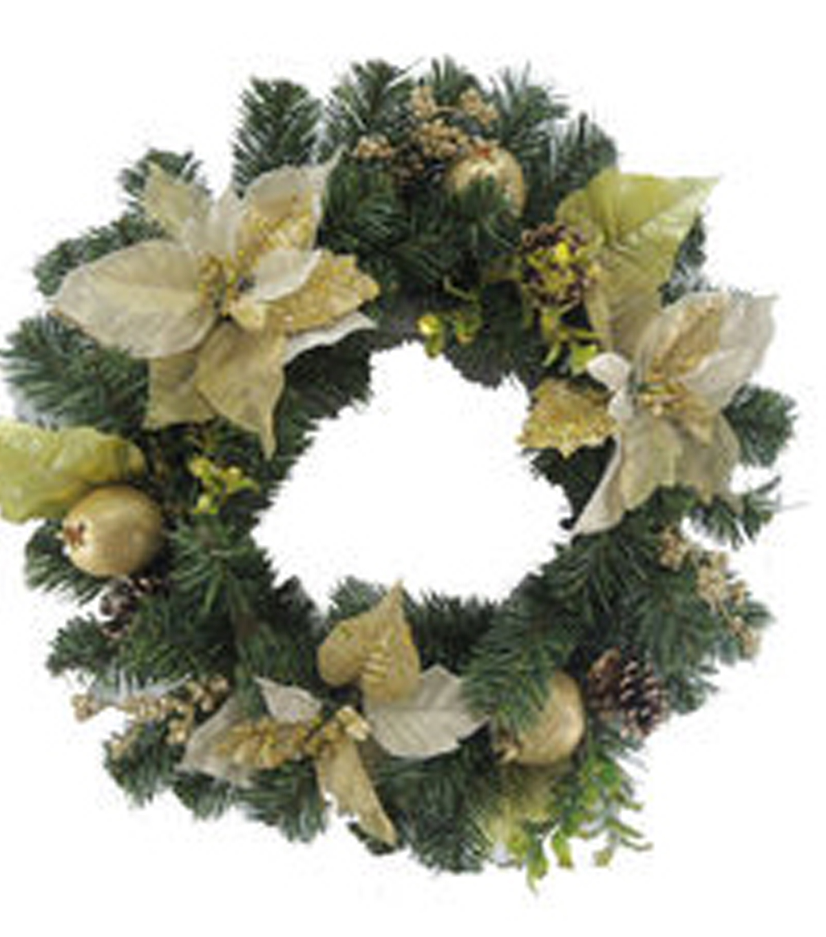 Holiday Cheer Poinsettia Pomegranate Pinecone Wreath-Gold