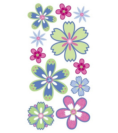 Dimensional Stickers-Island Oasis Flowers