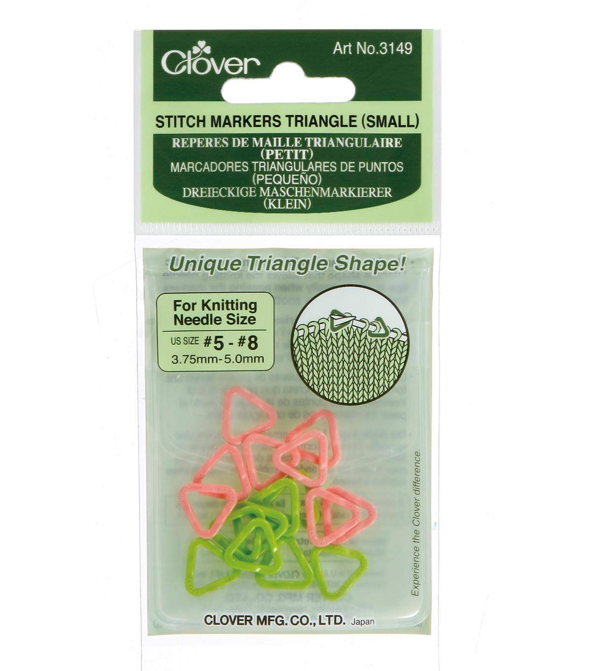 Triangle Stitch Markers Small-Sizes 5-8 16/Pkg