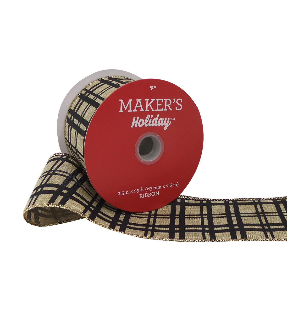 Maker\u0027s Holiday Christmas Ribbon 2.5\u0027\u0027x25\u0027-Black Line Plaid