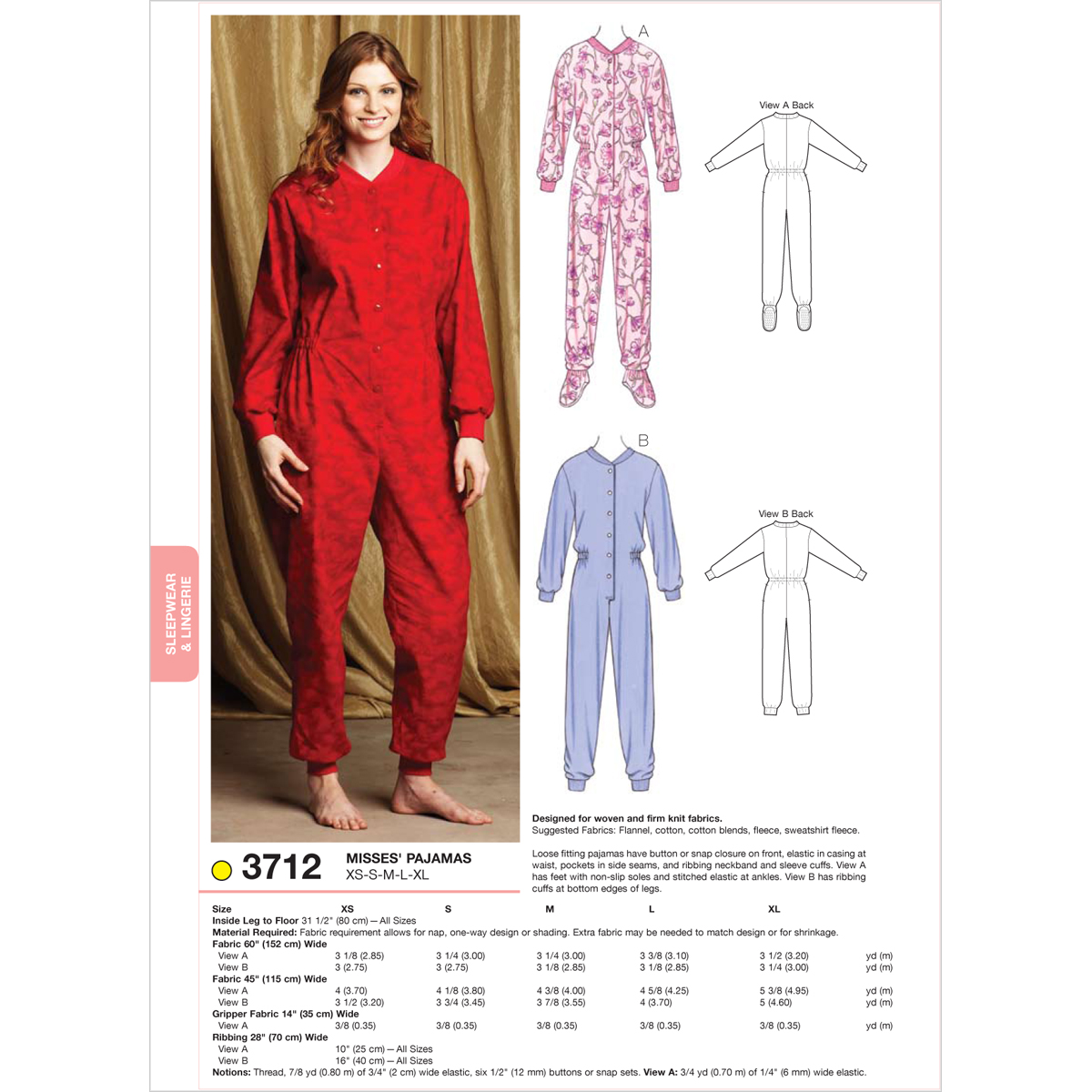 Kwik Sew Pattern K3712 Misses\u0027 Sleep & Lounge