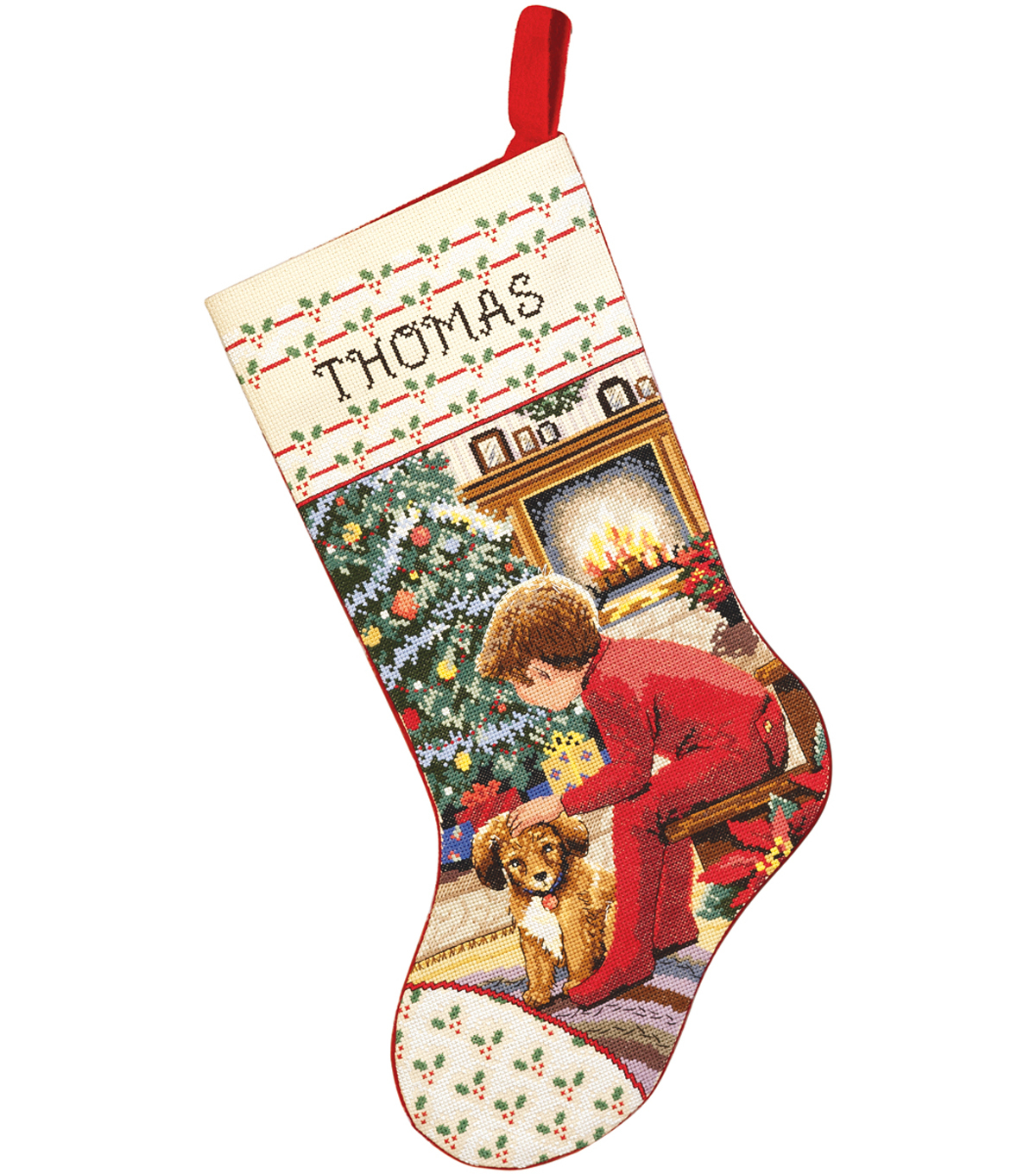 Waiting For Santa Stocking Counted Cross Stitch Kit-18\u0022 Long 14 Count