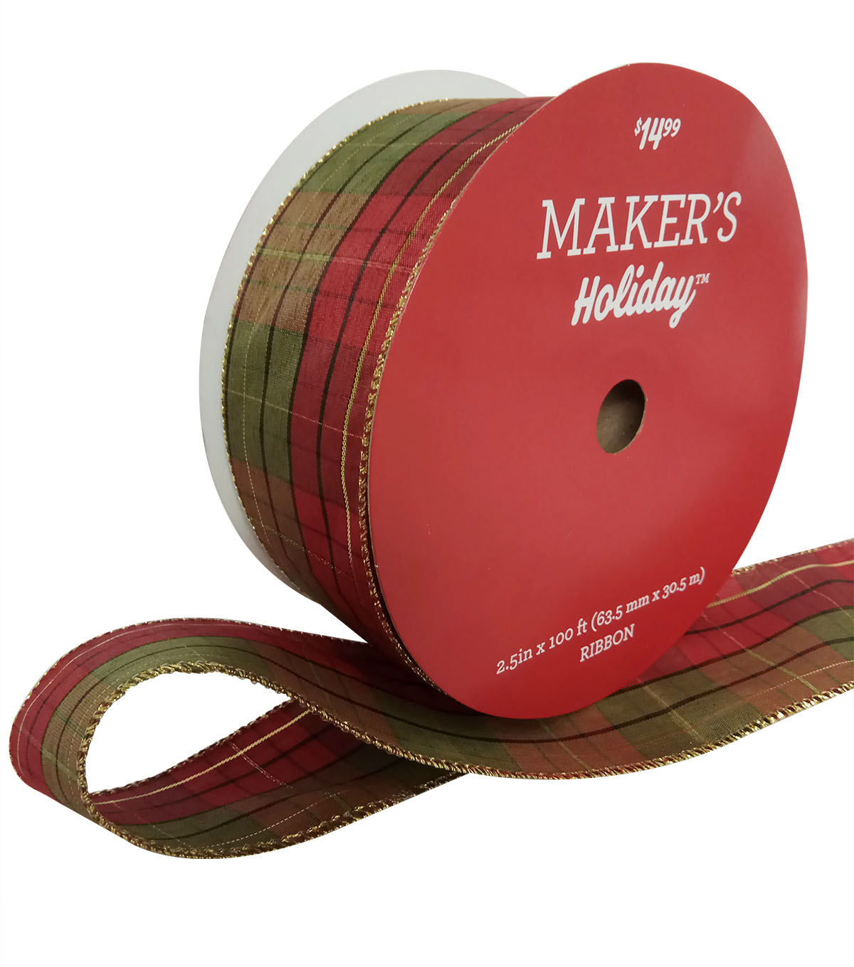 Maker\u0027s Holiday Christmas Value Ribbon 2.5\u0027\u0027x100\u0027-Red & Green Plaid