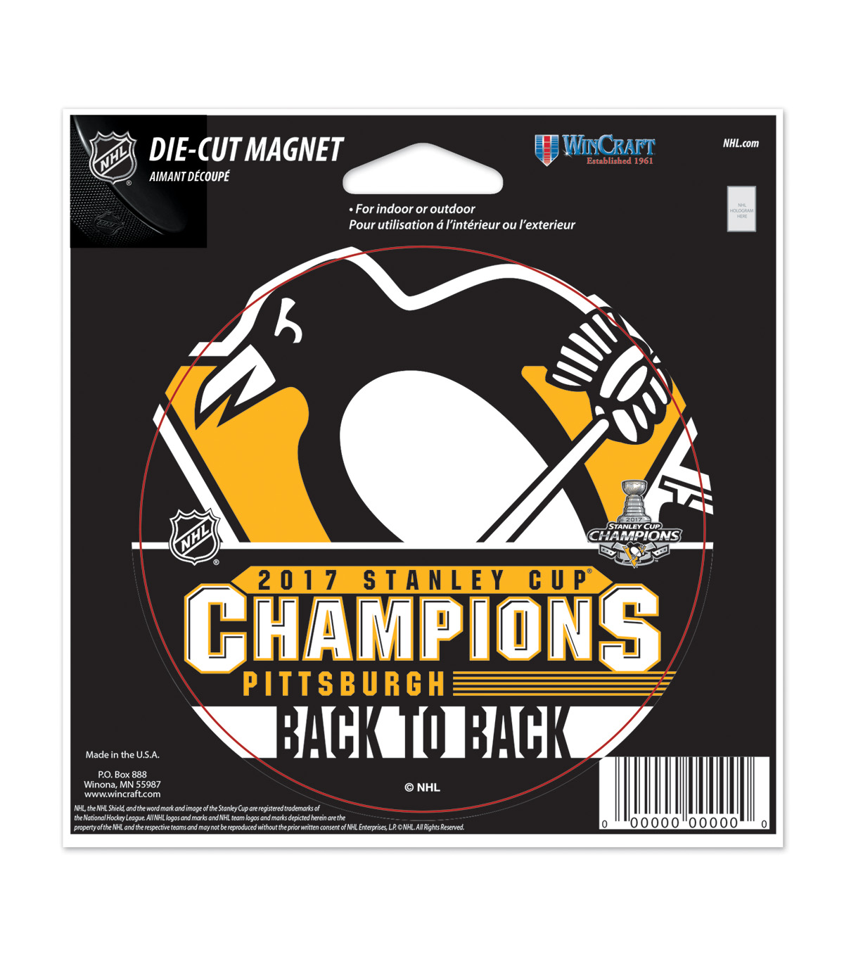 Pittsburgh Penguins 2017 Stanley Cup Champions Die-Cut Magnet