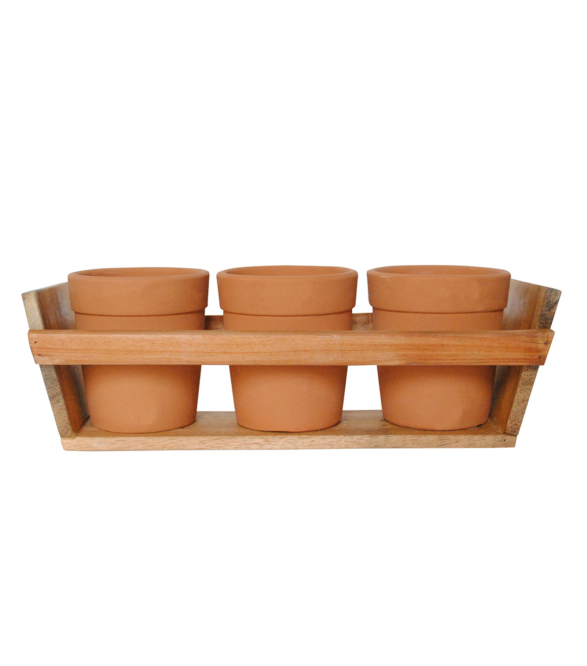 Bloom Room 3ct 5\u0027\u0027 Tall Clay Pots With Wood Tray-Orange